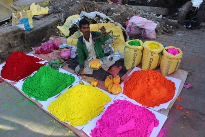 Getting redy for holi celebrations inMathura, India
