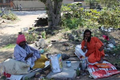 Guys having a smoke in Mathura, India