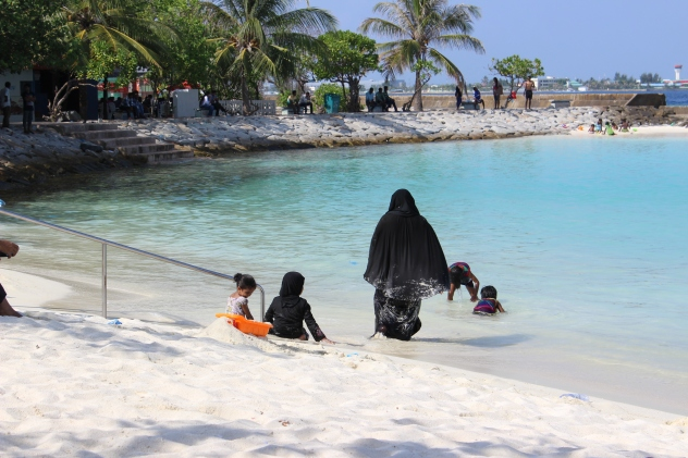 Burqas on the Beach in Male', Maldives