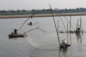 Fishing in the Mekong near Vientiane, Laos