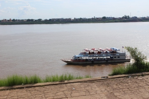 Mekong River at Takhek, Laos, with Thailand in background