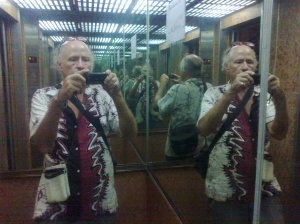 Author Hardie Karges reflected in mirrors