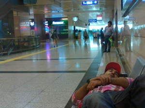 Copping a snooze in the airport