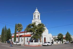 Cathedral on the plaza in Agua Prieta, Sonora, Mexico