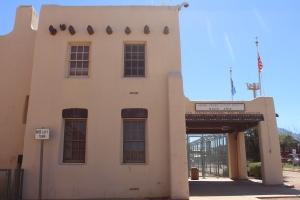 Pueblo Revival border post in Naco, AZ..