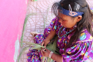 Tarahumara lady weaving baskets