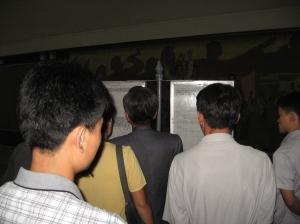 Reading news in Pyongyang