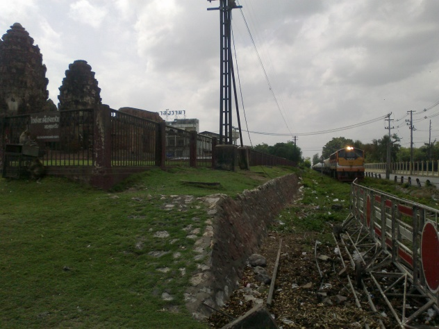 Not-so-still life with Ruins and Oncoming Train in Lopburi, Thailand